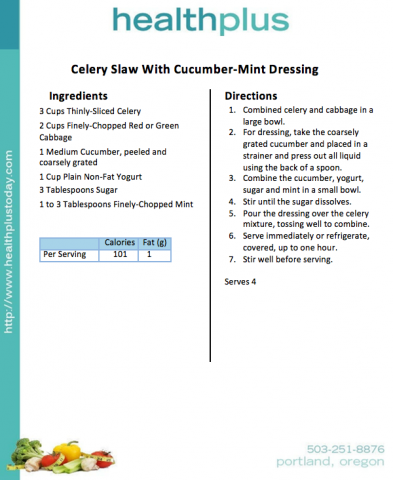 Celery Slaw With Cucumber-Mint Dressing