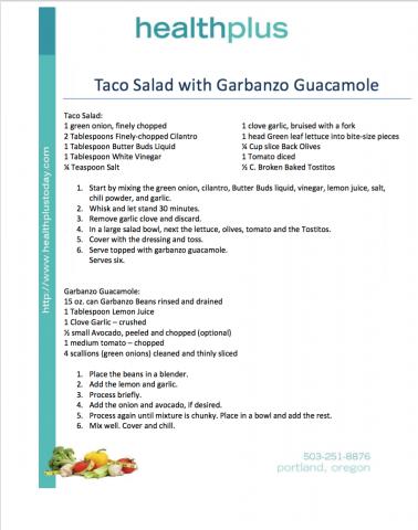 Taco Salad with Garbanzo Guacamole
